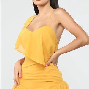 Mustard flamingo style dress